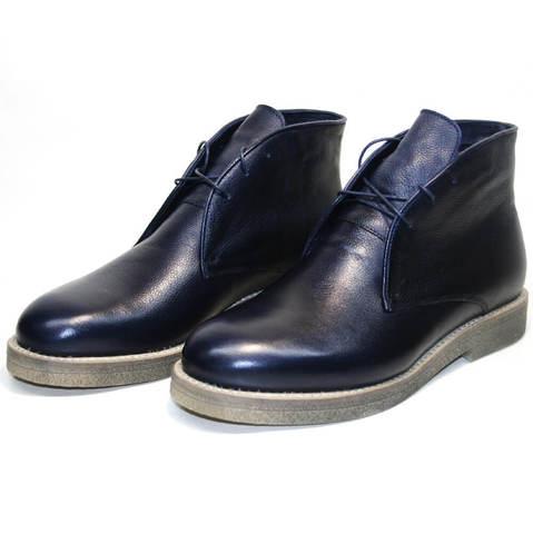 Модные ботинки мужские зимние чакка с мехом на толстой подошве Ikoc 004-9 S
