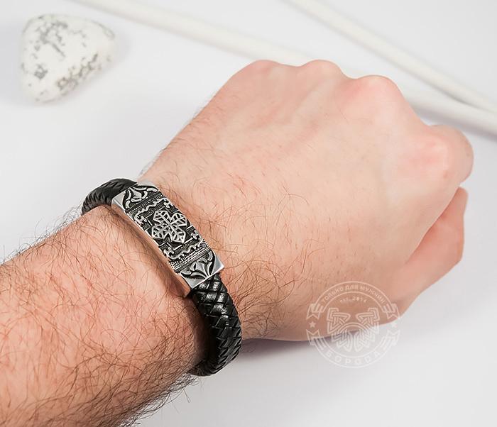 BM390 Массивный мужской браслет с крестом из стали и черной кожи (20,5 см) фото 05