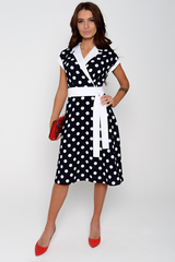 Отличное платье для романтической дамы! Отложной воротничок. Юбка клёш, с имитацией пояса.  Спущенное плечо с манжетам. (Длины: 44-103 см; 46-105см; 48-107см; 50-108см; 52-110см)