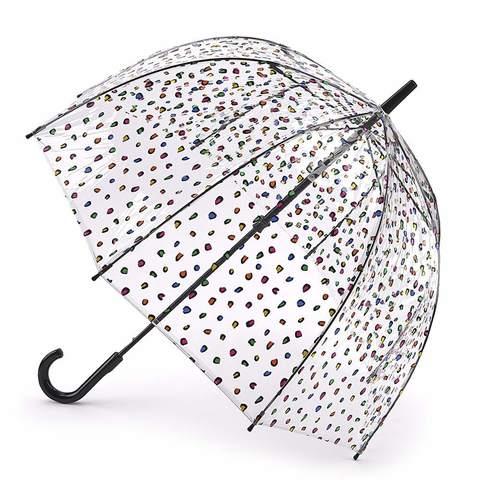 Зонт женский трость Fulton CandyLeopard (Цветной леопард)