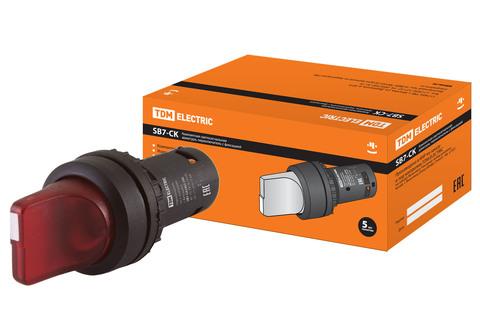 Переключатель на 2 положения с фиксацией SB7-CK2462-24V короткая ручка(LED) d22мм 1р красный TDM
