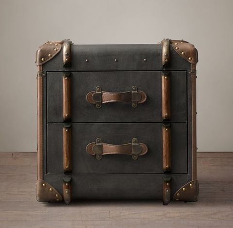 Richards' Trunk 2-Drawer Cube - Charcoal Canvas