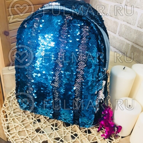 Рюкзак голубой с двусторонними пайетками меняет цвет Голубой-Серебристый Margo и брелок Единорог