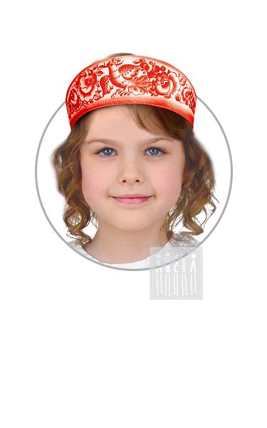 Кокошник Красный с Гжельской росписью девичий