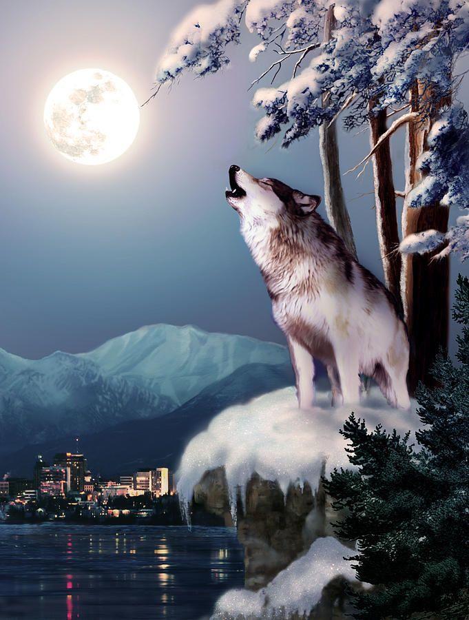 Картина раскраска по номерам 30x40 Волк воет на луну зимой ...