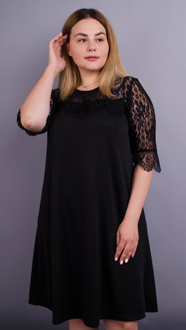 Лайза. Практичное платье больших размеров. Черный.