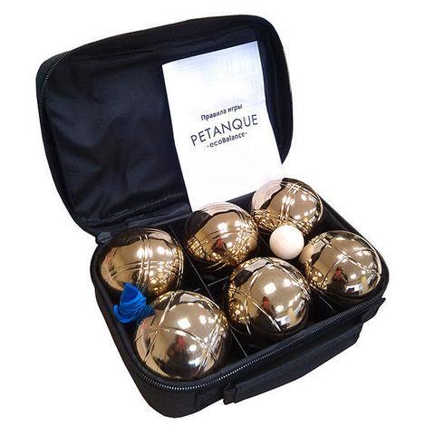 Петанк (боча) золотой, 6 шаров