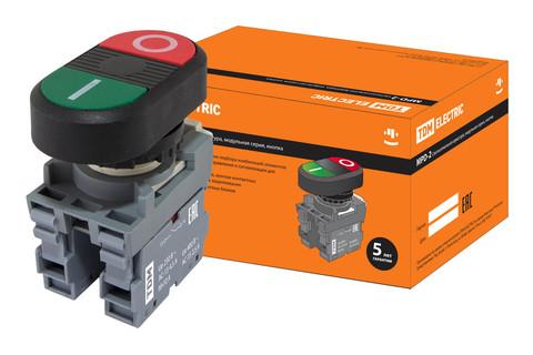 Кнопка двойная MPD2-11В (зеленая/красная) в сборе d22мм (I/O) TDM