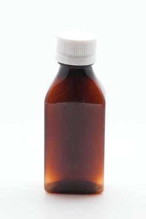 Бутылка плоская, темный пластик с белой крышкой