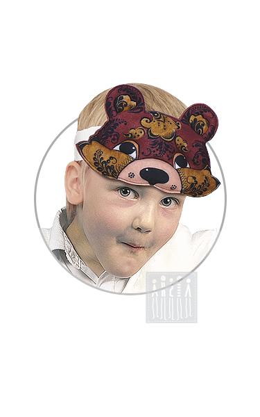 Маска Медведя с Хохломской росписью изготовлена на профессиональном оборудовании и рассчитана для длительного использования в детском саду.