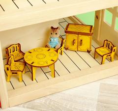 Набор кукольной цветной сборной мебели с гравировкой