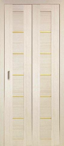> Экошпон складная Optima Porte Турин 501АПП молдинг SG  (2 полотна), цвет беленый дуб, глухая
