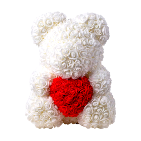 Белый мишка из 3D роз с сердцем 40 см.