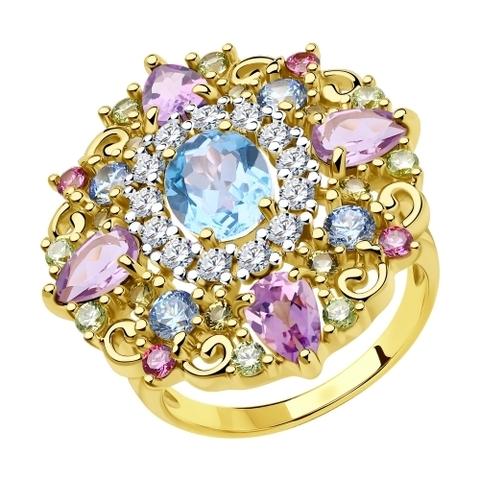 93010813 - Кольцо из золочёного серебра с фианитами