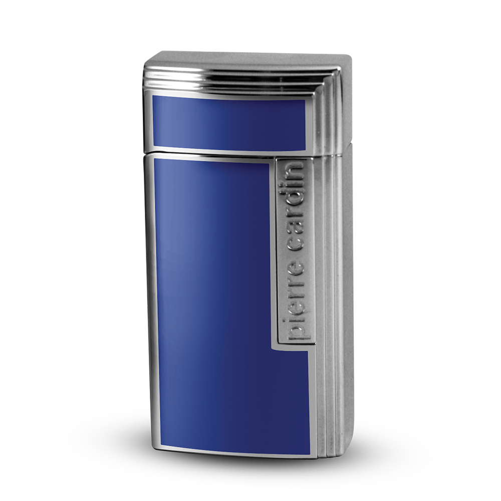 Зажигалка Pierre Cardin кремниевая газовая турбо, для сигар с гильотиной, цвет хром/синий лак с гравировкой, 3,5х1,6х7см