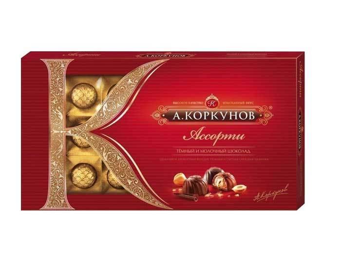Шоколадные конфеты ассорти темный и молочный шоколад А.Коркунов, 190 г