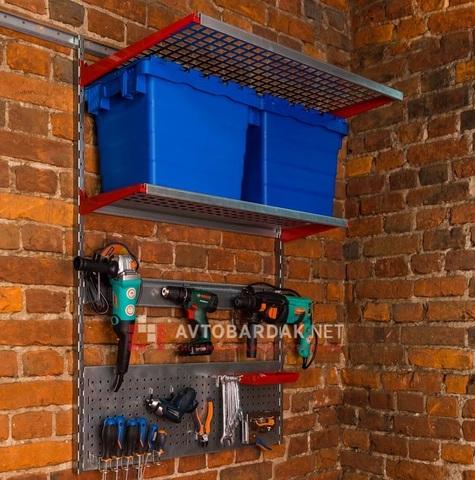 Стеллажи в гараж: набор из 2 полок и креплений для инструментов