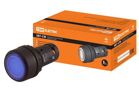 Кнопка SB7-CW3665-220V(LED) d22мм 1з+1р синяя TDM