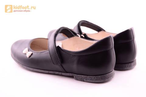 Туфли для девочек из натуральной кожи на липучке Лель (LEL), цвет черный. Изображение 7 из 18.