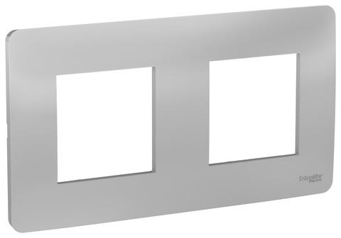 Рамка на 2 поста. Цвет Алюминий. Schneider Electric Unica Studio. NU200430