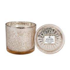 Ароматическая свеча Voluspa Белый табак в большом стеклянном подсвечнике с крышкой
