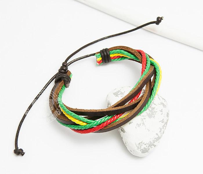купить Spikes, Яркий браслет на затяжках из кожи и шнуров, «Spikes» дешево