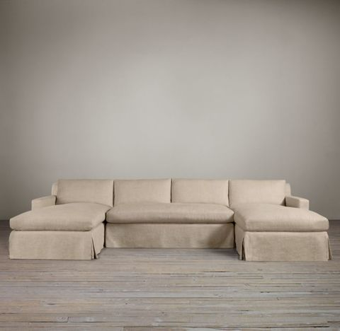 Belgian Track Arm Slipcovered U-Chaise Sectional