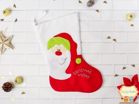 Рождественский носок красный. Санта.