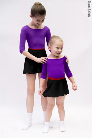 Комплект: купальник 2 Рукава фиолетовый + юбка