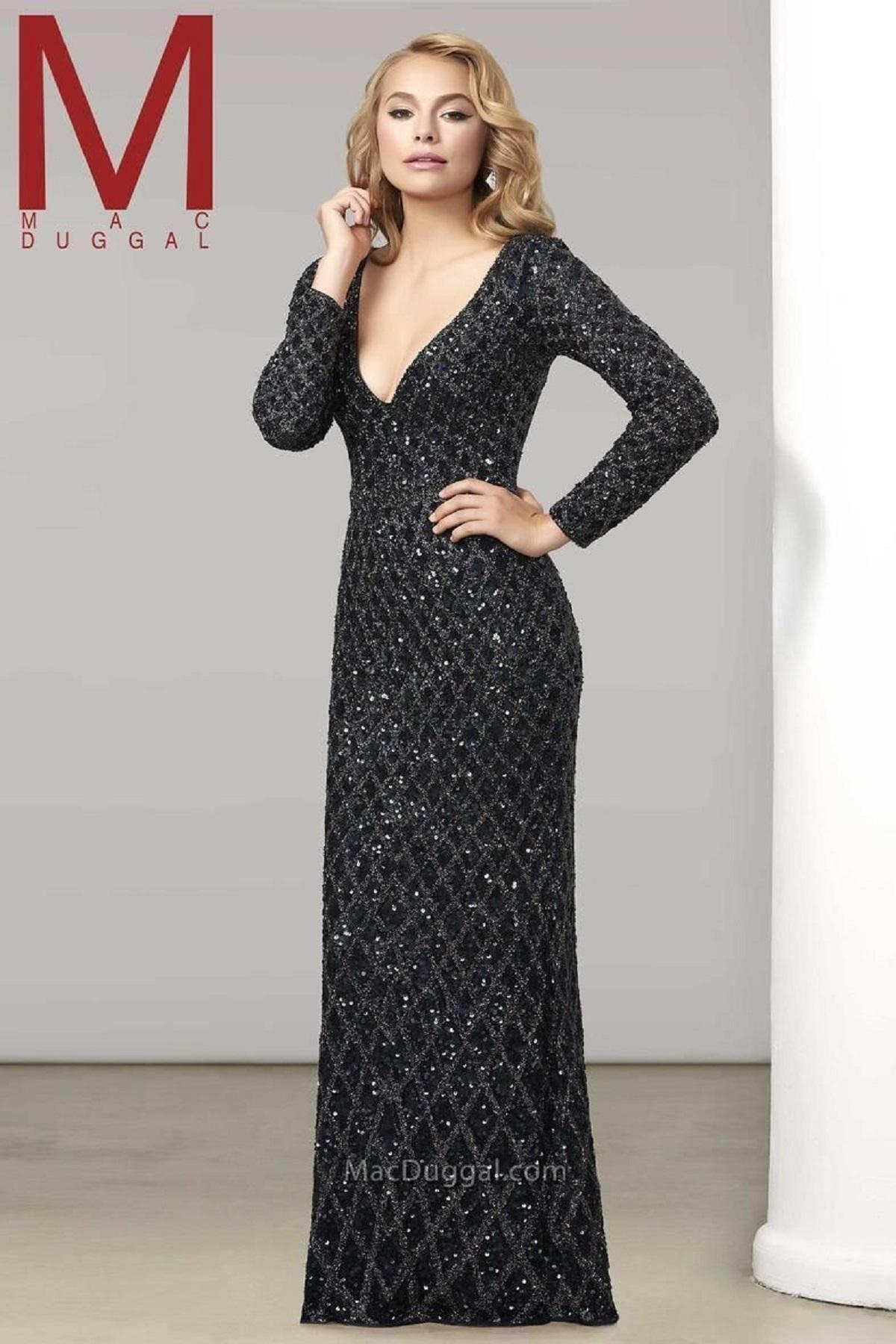 Mac Duggal 42325 Черное платье украшено сложным узором из бисера и камней, юбка длинная, прямого кроя