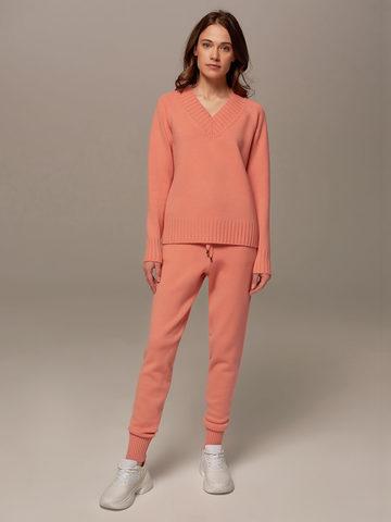Женские брюки кораллового цвета из шерсти и кашемира - фото 1
