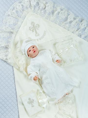 Набор для крещения Эксклюзив, 5 предметов (кремовый)