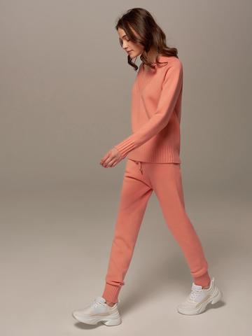 Женские брюки кораллового цвета из шерсти и кашемира - фото 2