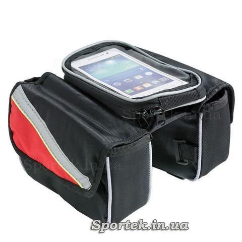 Сумка велосипедная на раму, двойная с боковыми кармашками и отделом для смартфона