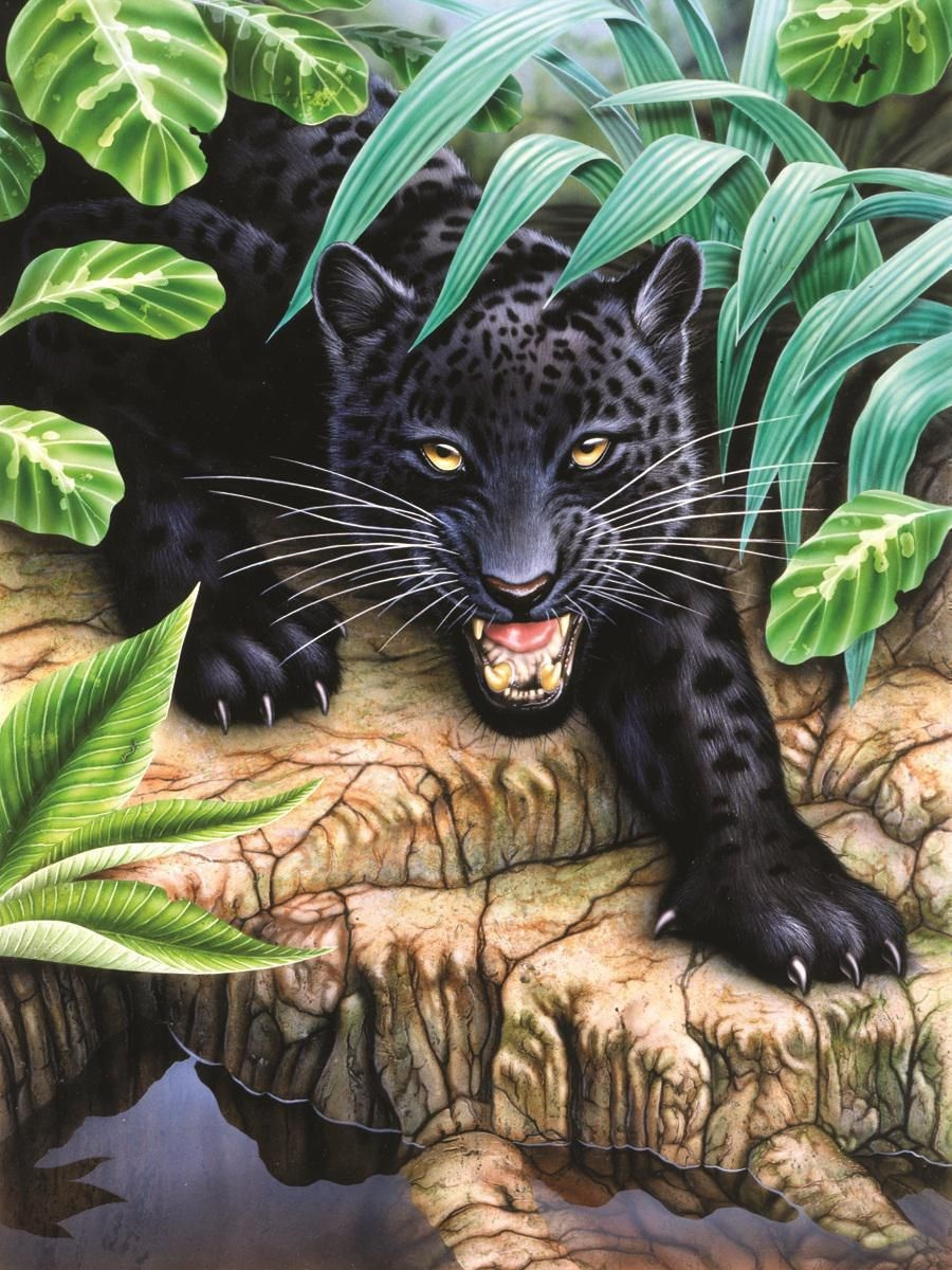 Картина раскраска по номерам 30x40 Пантера выбралась на ...
