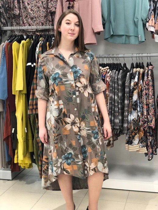 D Платье L&N 1663 рубашка цветы 3/4