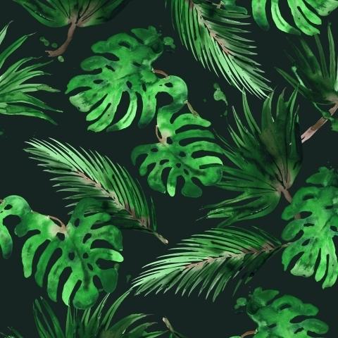 Тропические листья на темно-зеленом