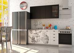 Кухня Coffee Time 1.6 / Шагрень черная - верх / Coffee белый - низ