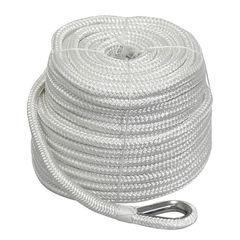 Трос якорный плетеный Ø14 мм/ 45 м с коушем, белый