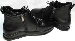 Кожаные женские ботинки кеды Evromoda 375-1019 SA Black
