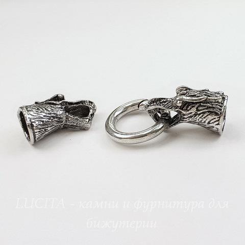 """Замок для шнура 11 мм с концевиками """"Дракон"""" 64х25 мм (цвет - античное серебро)"""
