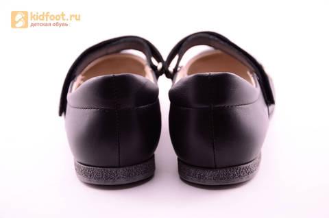 Туфли для девочек из натуральной кожи на липучке Лель (LEL), цвет черный. Изображение 8 из 18.