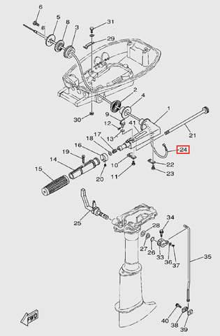 Трос газа для лодочного мотора T5 Sea-PRO (9-24)