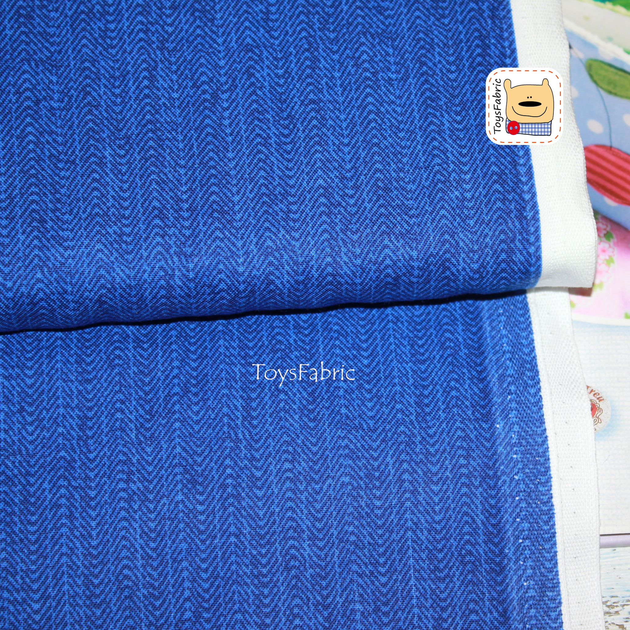 Ткань для пэчворка 20807 (синий рубчик) 45х55см