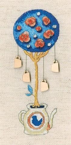Топиарий-дерево счастья (6,5*18, Аида 16, Льняная)