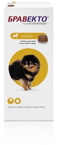 Бравекто таблетка инсектоакарицидная для собак 112,5мг 2-4,5кг