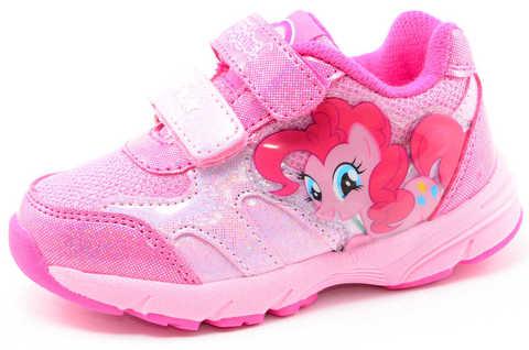 Светящиеся кроссовки для девочек Пони (My Little Pony) на липучках, цвет розовый, мигает картинка сбоку. Изображение 1 из 12.