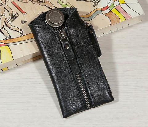 Вместительная ключница из натуральной кожи с кармашком