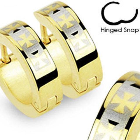 Мужские серьги-кольца с изображением крестов из нержавеющей ювелирной медицинской хирургической стали 316L SPIKES SE2060