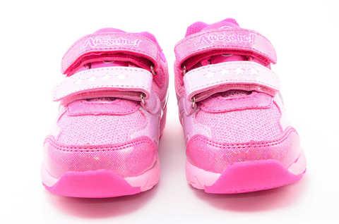 Светящиеся кроссовки для девочек Пони (My Little Pony) на липучках, цвет розовый, мигает картинка сбоку. Изображение 5 из 12.
